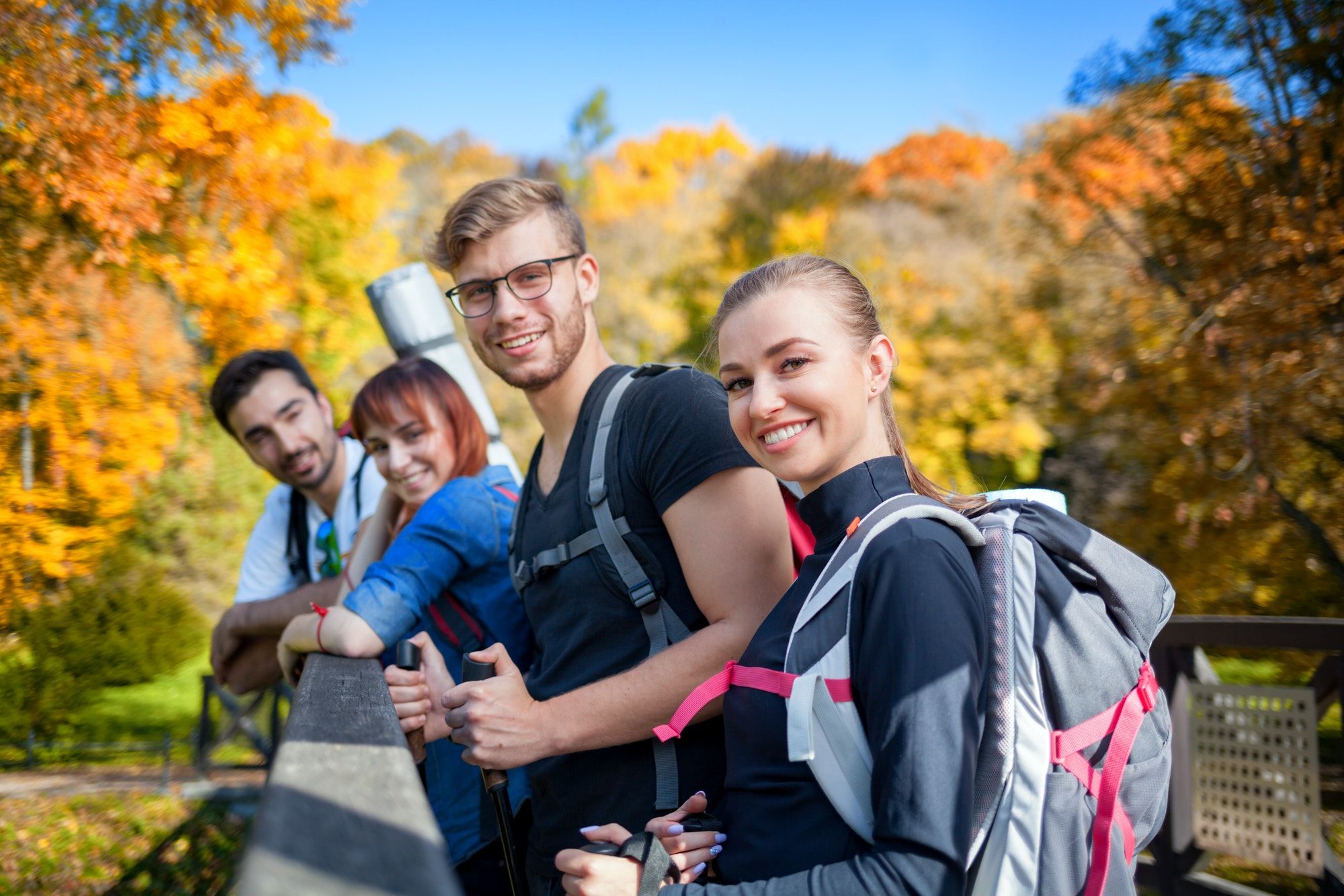 Group of friends on tourist trip, authentic life