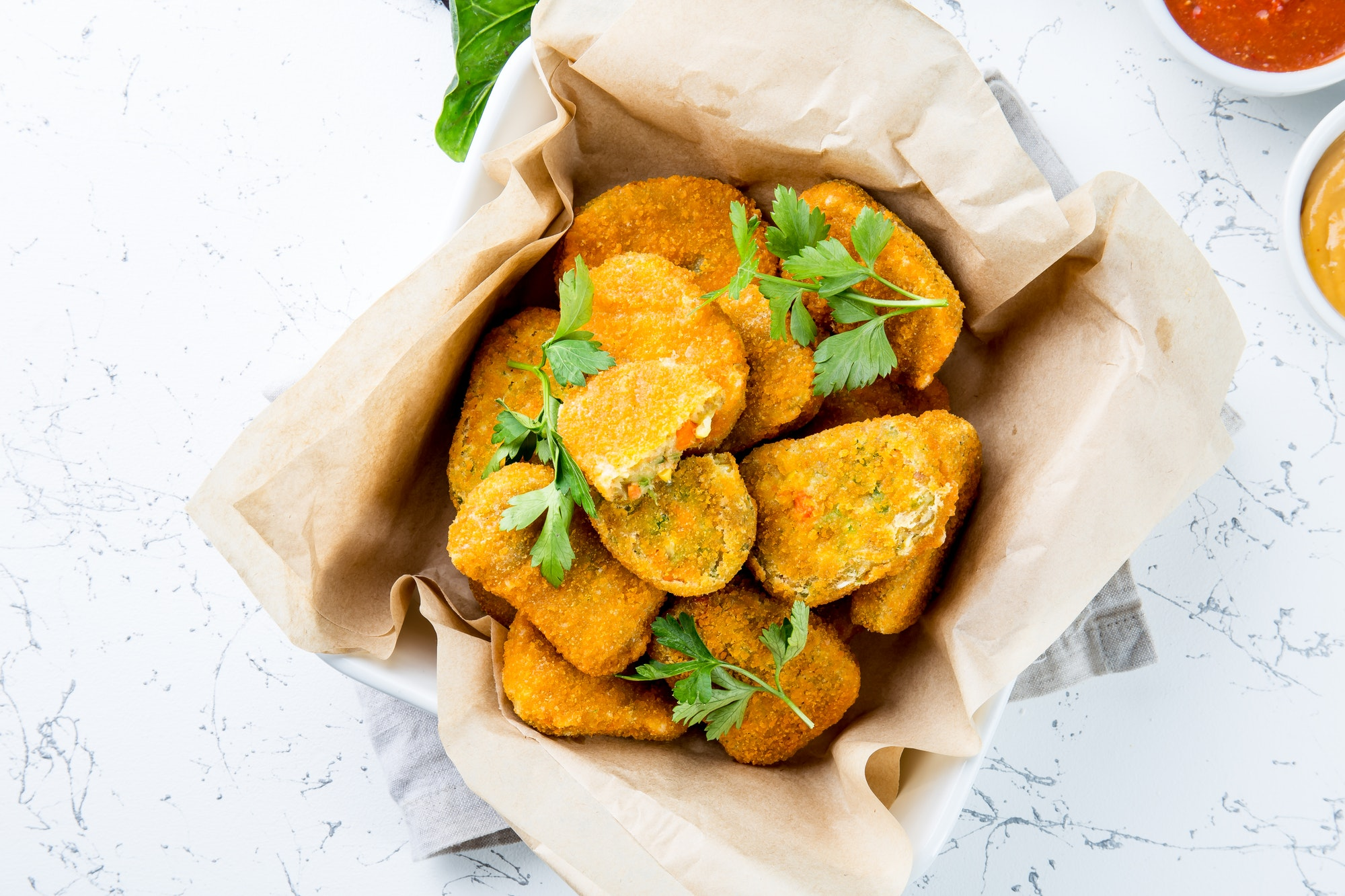 Vegetarian Nuggets with Carrots, Cauliflower and Spinach. Vegetable Nuggets.